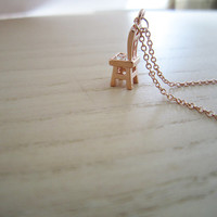 Rose gold,gold necklace, small stool necklace, 3D stool,minicrystal, especially small stool, hey, interesting necklace, special gift