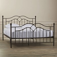 Full Size Modern Metal Bed Frame in Brushed Bronze Finish