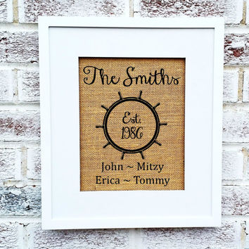 Nautical family name sign, est sign, nautical wheel, boat steering wheel, boating, boater, gift for dad, fishing, lake house decor