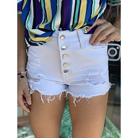 White Destroyed High Rise Jean Shorts