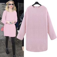 Fashion Pink Sports Hoodies Long Sleeve Round Necked One Piece Dress T-Shirt _ 12493