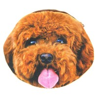 Brown Toy Poodle Puppy Dog Face Shaped Soft Fabric Zipper Coin Purse Make Up Bag