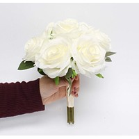 Rose Bouquet- Ivory handcrafted rose with rose leaf bridesmaid wedding sweet 16 dance flower