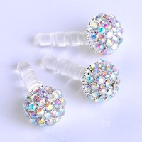 Leegoal 1pc 3.5mm Ab Crystal Ball Anti Dust Plug Stopper for Iphone4/4s Cellphone