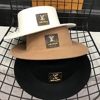 LV Louis Vuitton pure wool flat top hat retro top hat casual all-match jazz hat