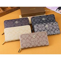 Coach New Retro Wallet Fashion Letter Full Printed Zipper Long Wallet