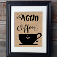 ACCIO Coffee Harry Potter Burlap Print, Rustic Kitchen Decor, Funny Kitchen Print