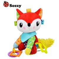 Authorized Authentic SOZZY Colorful Fox Soft Baby Rattle Bell Infant Plush Toy Baby Crib Stroller Hanging Toy