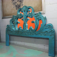 antique style turquoise king size headboard with mirrors