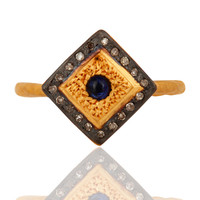 925 Sterling Silver Pave Diamond Blue Sapphire Gemstone Stack Ring