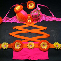 EDC, rhinestone & daisy Rave, Hippie, costume, dance, festival, bright neon pink bra with wraps, shorts, daisy belt and headband outfit