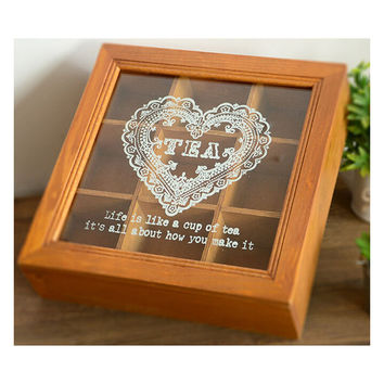 Zakka Retro Vintage 9 Cabinets Jewelry Storage Wooden Box Clear Cover    Yellow Heart