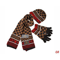 Inseva Louis Vuitton LV Autumn Winter Popular Retro Plaid Pattern Warm Knit Hat Cap Scarf Gloves Set Three Piece 6#