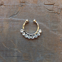 Cute Small Fake Rhinestone Nose Ring, Tribal Silver Faux Septum Piercing