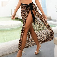 New leopard print dress sexy lady's dress with sunscreen on the beach