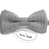 Grey linen bow tie, grey bow tie, bow ties for men, wedding bow tie, linen wedding tie