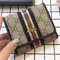 GUCCI Fashion New bee stripe more letter leather handbag wallet purse women