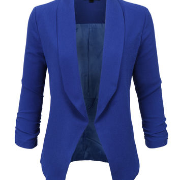 LE3NO Womens Textured 3/4 Sleeve Open Blazer Jacket (CLEARANCE)