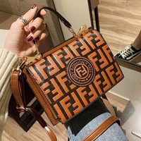 FENDI Fashion Women Leather Handbag Bag Shoulder Bag Crossbody Satchel Brown