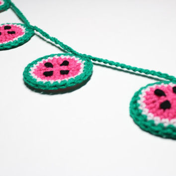 Watermelon Garland, Crochet Bunting, Summer Party Decoration, Fruit Wall Hanging, Handmade Home Decor, Kitchen Food Decor