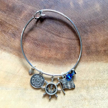 United States Coast Guard Bangle, US Female Coast Guard Bracelet, Coast Guard Wife Bangle