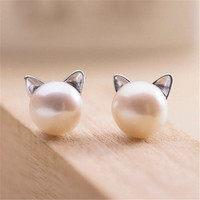 Pearl Cat Kitten Head Stud Earrings