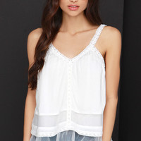 JOA Tier or Far Ivory Lace Top