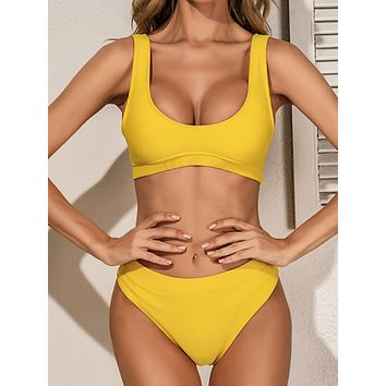 Rib High Waisted Bikini Swimsuit