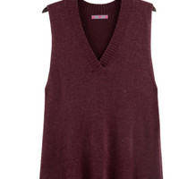 Plain Asymmetrical Sleeveless Knitted Shirt
