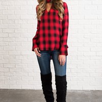 Plaid Perfection Key Hole Cutout Top (Red)