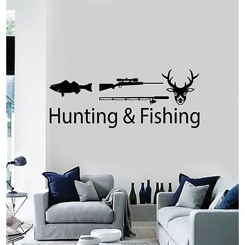 Vinyl Wall Decal Fishing and Hunting Tackle Rod Deer Rifle Stickers Mural (g3394)