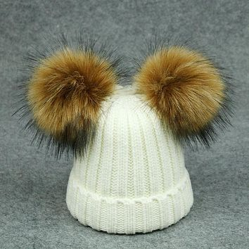 2017 winter hats children caps cute girls boys knitted wool cotton hat two pom poms baby kids beanies warm quality women hats