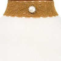DETACHABLE VELVET AND LACE PEARL ACCENT CHOKER NECKLACE