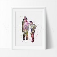 Han Solo Chewbacca Watercolor Art Print