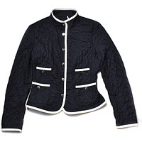 Moncler Blazer Black Women's Quilted Blazer with White Trim Small | Pre-Owned Used