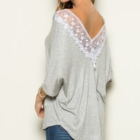 Heather Gray Lace-Accent Boatneck Top
