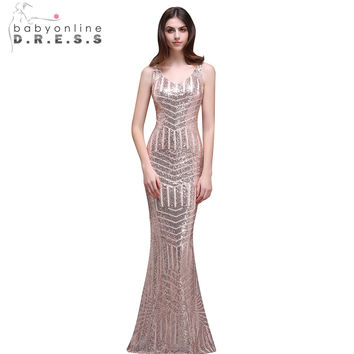 Babyonline Sexy V-neck Rose Gold Mermaid Sequin Prom Dresses  Long 2017 Sheer Back Formal Party Dresses Evening Gown