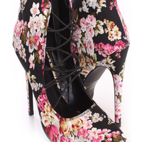 Black Multi Floral Print Strappy Booties Fabric