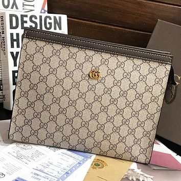 GG Embroidered Letter Pattern Ladies Cosmetic Bag Clutch