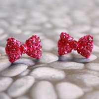 The Pink Ribbon - Magenta Pink Miniature Bow Earrings