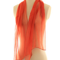 Orange chiffon scarf, naturally dyed scarf, transparent scarf, madder dyed shawl, red orange silk chiffon, gift for her, romantic scarf