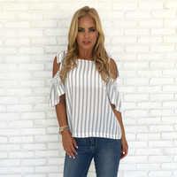 Little White Lines Off Shoulder Blouse
