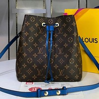 LV Louis Vuitton hot sale printed color matching ladies temperament shopping diagonal bag bucket bag Coffee