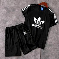 ADIDAS 2019 new men and women models simple wild sports suit two-piece Black