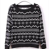 Cross and Wave Knitted Top for Women Black THS765 from topsales