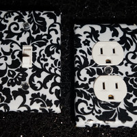 Black Damask Light Switch Plate & Outlet Cover Set of 2- Black White Floral Any Styles!