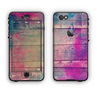 The Pink & Blue Grunge Wood Planks Apple iPhone 6 Plus LifeProof Nuud Case Skin Set