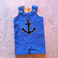 baby boy sailor rompers, john john, longalls, overalls 3m, 6m, 12m, 2t, 3t, 4t and 5t