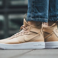 PEAPON Nike Air Force 1 Ultraforce Mid 864025-002 Khaki For Women Men Running Sport Casual Shoes Sneakers