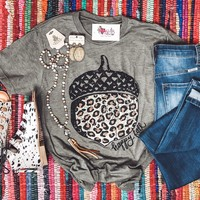 Happy Fall Leopard Acorn Tee